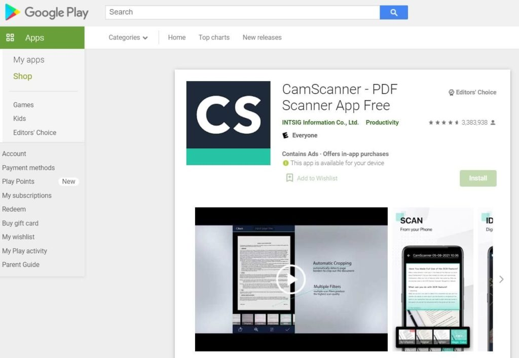 Foto de Aplicación CamScanner en Google Play