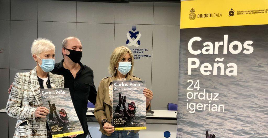 Foto de La presidenta del COEGI, Pilar Lekuona; Carlos Peña y Anuska